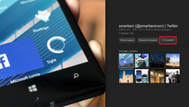 Google Immagini: è arrivato il tasto Condividi