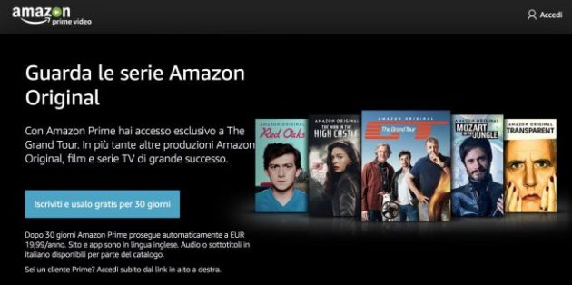 Amazon Prime Video è finalmente attivo anche in Italia