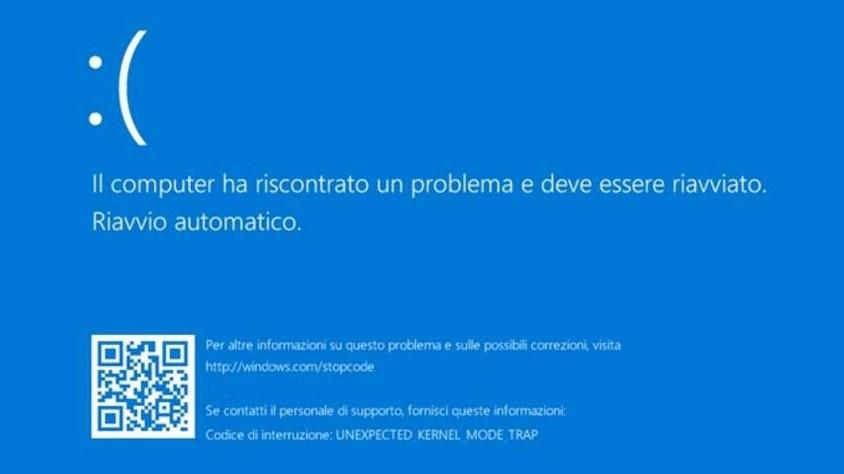 Windows 10, torna l'incubo del blue screen